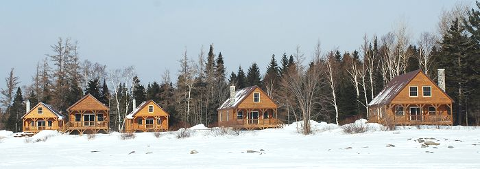 Kokadjo waterfront rental cabins in winter