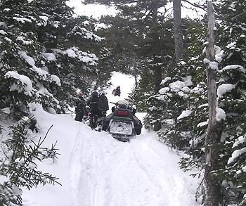 off-trail snowmobiling in Kokadjo